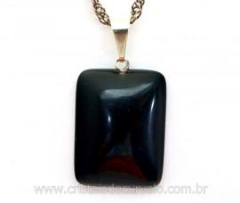 Pingente Retangular Obsidiana Negra Pino Prateado Ref PR6788