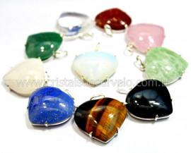 5 Pingente Coração Pedras Mistas Prata 950 Garra REFF CP8228