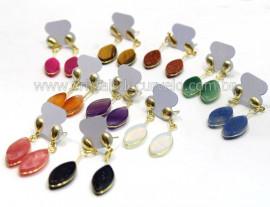10 Brinco Navete Pedras Mistas Acabamento Folha e Tarracha Banho Ouro Flash Dourado