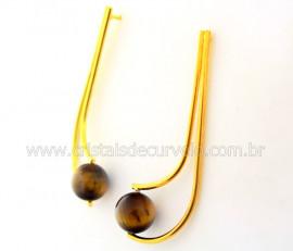 Brinco Boomerang Pedra Olho de Tigre Montagem Dourado REFF BB3881