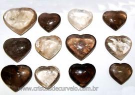 10 Coração Pedra Quartzo Fumê Natural 4.7 a 6.5cm ATACADO