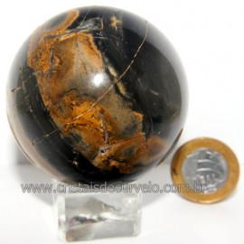 Bola Onix Preto Pedra Natural Lapidado Artesanal Cod 118742