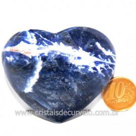 Coração Sodalita Pedra Azul Natural de Garimpo Cod 124083