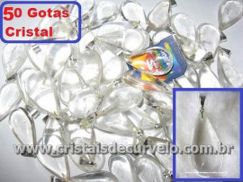 50 Gotas CRISTAL Pedra Quartzo Pingente Banhado Prata