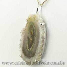 Pingente Flor de Ametista Pedra Natural Garra Prateado 120615