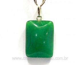 Pingente Retangulo Quartzo Verde Prata 950 Pino Reff PR4648