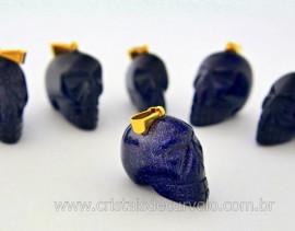 Pingente Caveira ou Cranio de Pedra Estrela Azul com Montagem Dourado