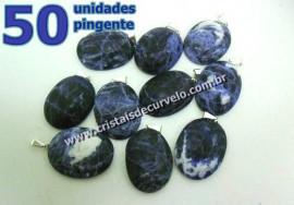 50 Pingente Cabochão SODALITA Pedra Natural Castoação Pino Banho Prata