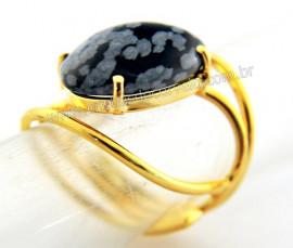 Anel Obsidiana Flocos de Neve Cabochão Oval Pequeno Dourado REFF CP1278