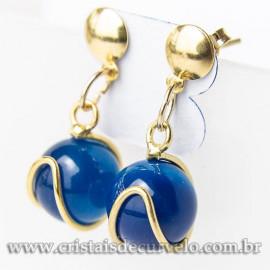 Brinco Bolinha Na Cesta Pedra Agata Azul Pino Dourado 112809