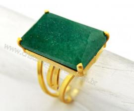 Anel Quartzo Verde Facetado Pedra natural de Garimpo Banho Flash Dourado Aro Ajustavel REF 27.5