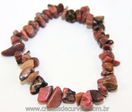 Pulseira Rodonita Natural Montagem Fio Silicone Reff 106476