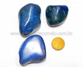 03 Agata Azul Rolado Pedra Natural de Garimpo Esoterismo Colecionador Reff 62.7