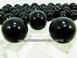 03 Mini Bola Cristal Negro Esfera Pedra Natural e Pequena KIT