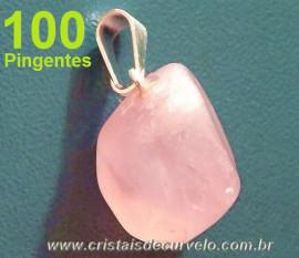Lembrança de Casamento 100 Pedrinha Pingente Pedra Quartzo Rosa ATACADO