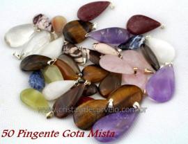 50 Pingente GOTA Pedra MISTO Natural Montagem Flasch Dourado ATACADO