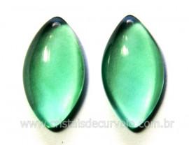 Par Navete Obsidiana Verde Natural Para Brinco Reff NB6223