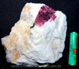 Turmalina Melancia Pedra Incrustado Quartzo Bruto Cod 106163