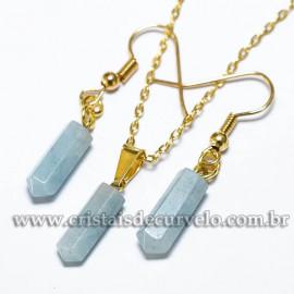 Conjunto Pingente e Brinco Quartzo Azul Paraíba Micro Pontinha Dourado