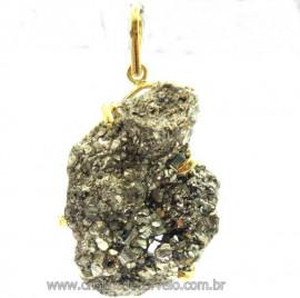 Pingente Drusa Pirita Extra Pedra Natural Montagem Envolto Dourado cod PP7130