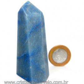 Ponta Quartzo Azul Pedra Natural Gerador Sextavado Cod 113487