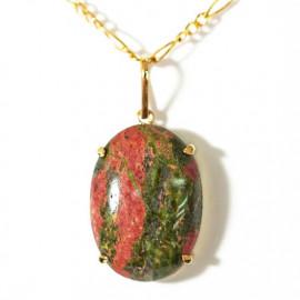 Pingente Unakita Cabochao Oval Pedra Natural Montagem Garra Dourado