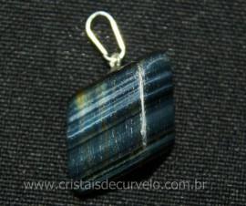 Pingente Pedrinha Olho de Falcao Rolado Mineral Natural Montagem Prateado