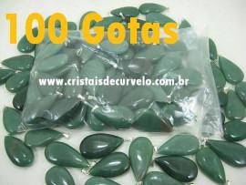 100 Gota VERDE Pedra Quartzo Pingente Banhado Prata