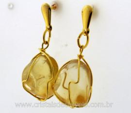 Brinco Cesta Amarrada Pedra Citrino Natural Pino Tarracha Banho Ouro Flash