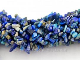 Fio Lapis Lazuli Cascalho Extra Furado a Laser Pedra Natural Rolada e Furado 90cm