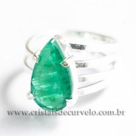 Anel Gema Esmeralda Facetada Berilo Prata 950 Ajustavel 112415