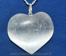 Pingente Coração Selenita Grande Pino Prata 950 Reff 106321
