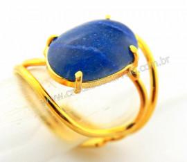 Anel Quartzo Azul Cabochão Oval Pequeno Dourado REFF CP5701