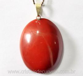 Pingente Cabochao Jaspe Vermelho Pedra Natural Montagem Pino Prateado