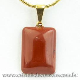 Mini Pingente Retangular Liso Pedra Jaspe Vermelho Pino Dourado