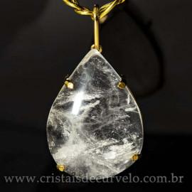 Pingente Gigante Gota Cristal Natural na Garra Dourado 125095