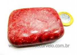 Sabonete Massageador Pedra Quartzo VERMELHO Mineral de Garimpo Cod SV138.4