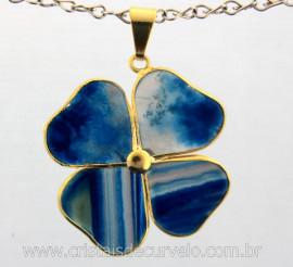 Pingente Trevo Agata Azul  Pedra Natural Trevinho da Sorte Montagem Dourado