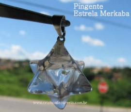 Merkaba Pingente Pedra Cristal Extra Presilha Banho de Prata