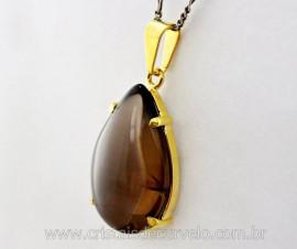 Pingente Extra Gota Pedra Fume Natural Montagem Garra Dourado