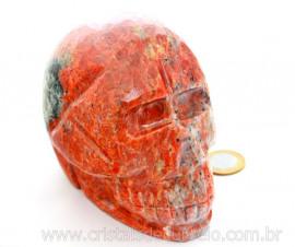 Cranio Calcita Laranja Caveira Pedra Natural Esculpido Skull Stone Cod CL1.481