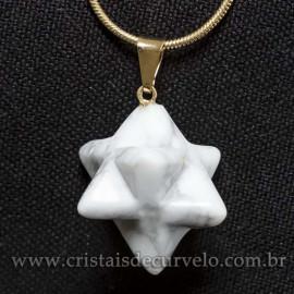 Pingente Merkabah Pedra Howlita Branca Pino e Presilha Dourado