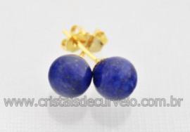 Brinco Bolinha Pedra Lapis Lazuli Pino Tarracha Banho Ouro Flasch Dourado