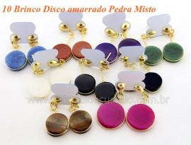 10 Brinco Disco Pedras Mista Pino Tarracha Banho Ouro Flash