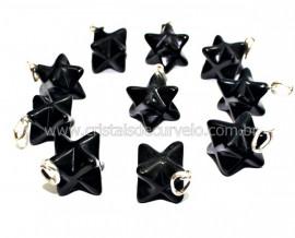 Pingente Merkaba Pedra Obsidiana Negra Pino Prata Ref MP5366