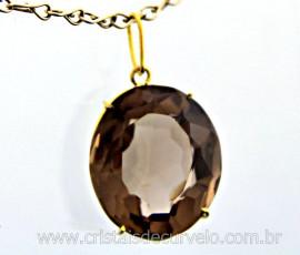 Pingente Fume Cabochao Oval Facetado Pedra Natural Montagem Garra Dourado