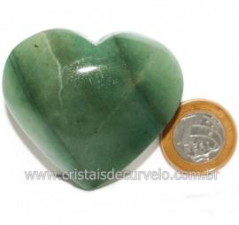 Coraçao Quartzo Verde Natural Boa Qualidade Cod 121618