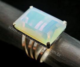 Anel Prata 950 Pedra da Lua Opalina Multifacetado Aro Ajustavel ao Dedo REFF 13.6