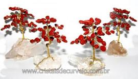 04 Àrvores Da Felicidade Pedra Jaspe Vermelho na Drusa REFF AD9595