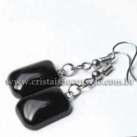 Brinco Retangular Pedra Obsidiana Negra Montagem Anzol Prateado